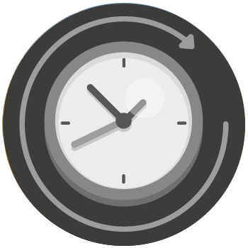 A clock graphic.