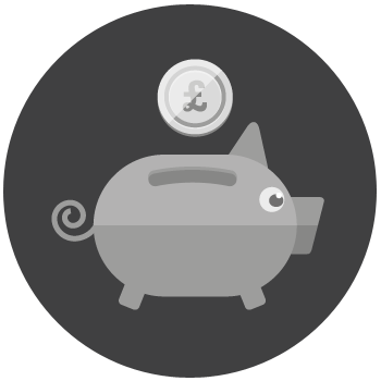 A piggy bank graphic.