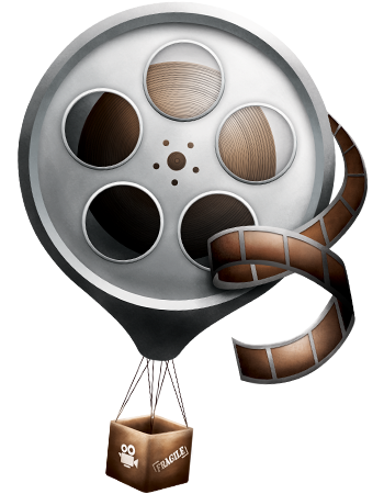Hot air balloon with a film reel.