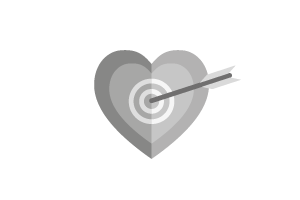 A heart shaped target with and arrow in the middle.