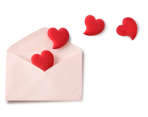 An envelope with love heart coming out of it